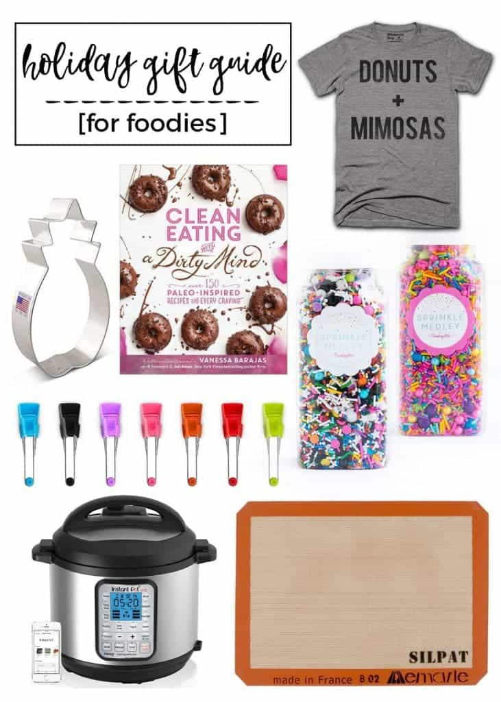 A great holiday gift guide for foodies! Everything you need from cookbooks, an Instant Pot, sprinkles, kitchen tools, food-themed apparel and more! From @whattheforkblog | whattheforkfoodblog.com | 2016 holiday gift guide