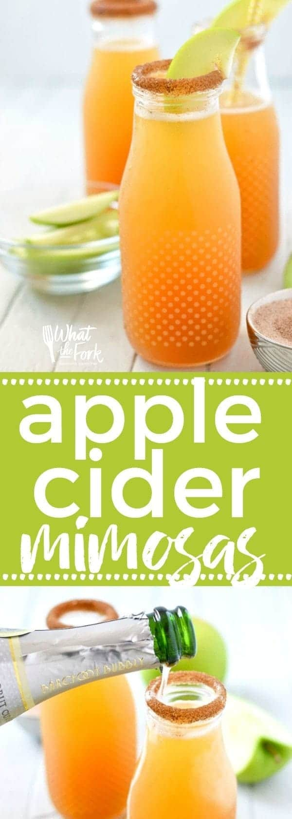 Apple Cider Mimosas are the perfect fall twist on a classic drink. These are great for brunch or any occasion that calls for champagne! Easy fall drink recipe from @whattheforkblog | whattheforkfoodblog | apple cider champagne cocktail | drinks with apple cider | fall cocktails | apple cider cocktails | drinks for brunch | champagne cocktails | how to make a mimosa | spiced apple cider mimosa | apple cider mimosa recipe | fall mimosa recipes | sparkling apple cider mimosas | apple cider mimosa video