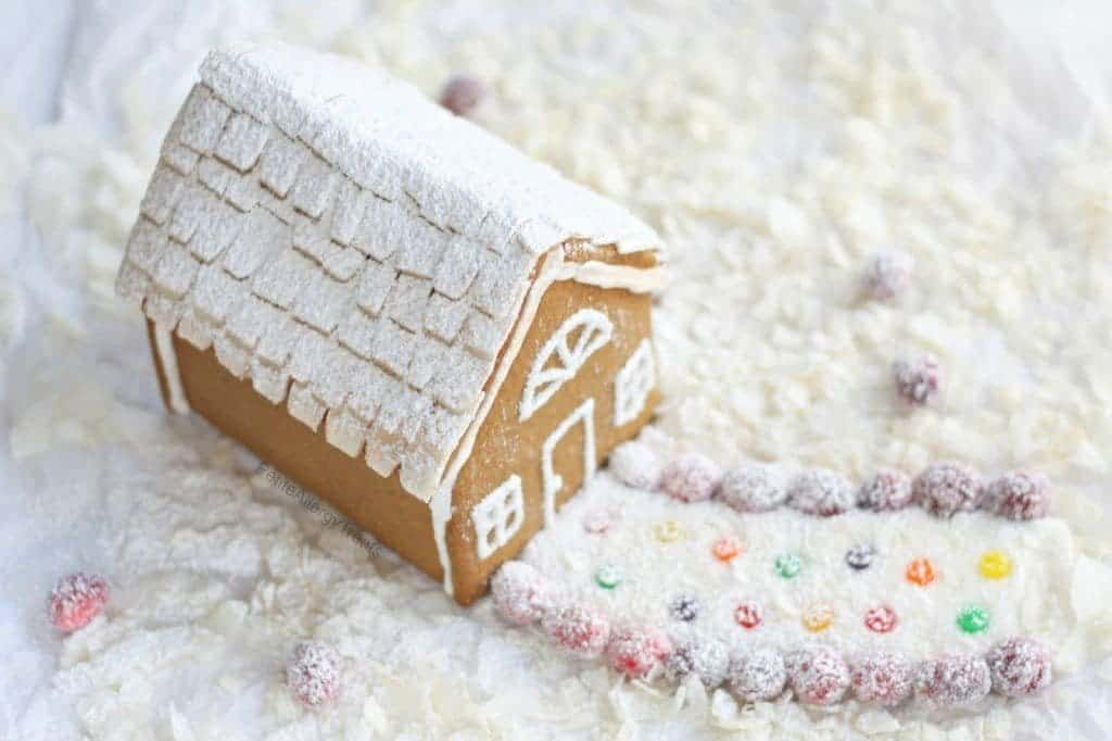 Gluten Free Gingerbread House plus a complete list of gluten free Christmas Cookies. @whattheforkblog | whattheforkfoodblog