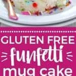 Super easy 1-minute gluten free funfetti mug cake - made with cake mix so no mixing or measuring a bunch of ingredients! Dessert recipe from @whattheforkblog | whattheforkfoodblog | gluten free desserts | how to make mug cake | cake mix mug cake | funfetti cake | easy funfetti cake | how to make cake in a microwave | no-bake cake | microwave cake | easy dessert recipes | sprinkles | confetti cake