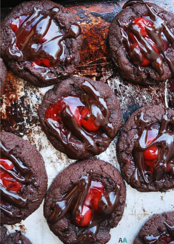 Gluten Free Cherry Chocolate Thumbprint Cookies plus a complete gluten free Christmas cookie list for all your holiday baking. | @whattheforkblog | whattheforkfoodblog.com