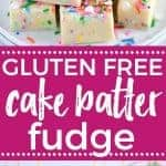 Gluten Free Cake Batter Fudge recipe from @whattheforkblog | whattheforkfoodblog.com | Funfetti | gluten free desserts | no-bake dessert recipes | easy fudge recipes | cake mix hacks