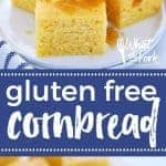 This super quick and easy gluten free cornbread recipe is sure to be a family hit. It's can easily be made dairy free too! Serve it for a dinner side dish with chili, or bbq, or even have it for breakfast with a drizzle of honey. Recipe from @whattheforkblog | whattheforkfoodblog.com | gluten free bread recipes | easy gluten free recipes | gluten free baking | how to make gluten free cornbread | the best gluten free cornbread recipe #glutenfree #cornbread #bread #easyrecipes #quickbread