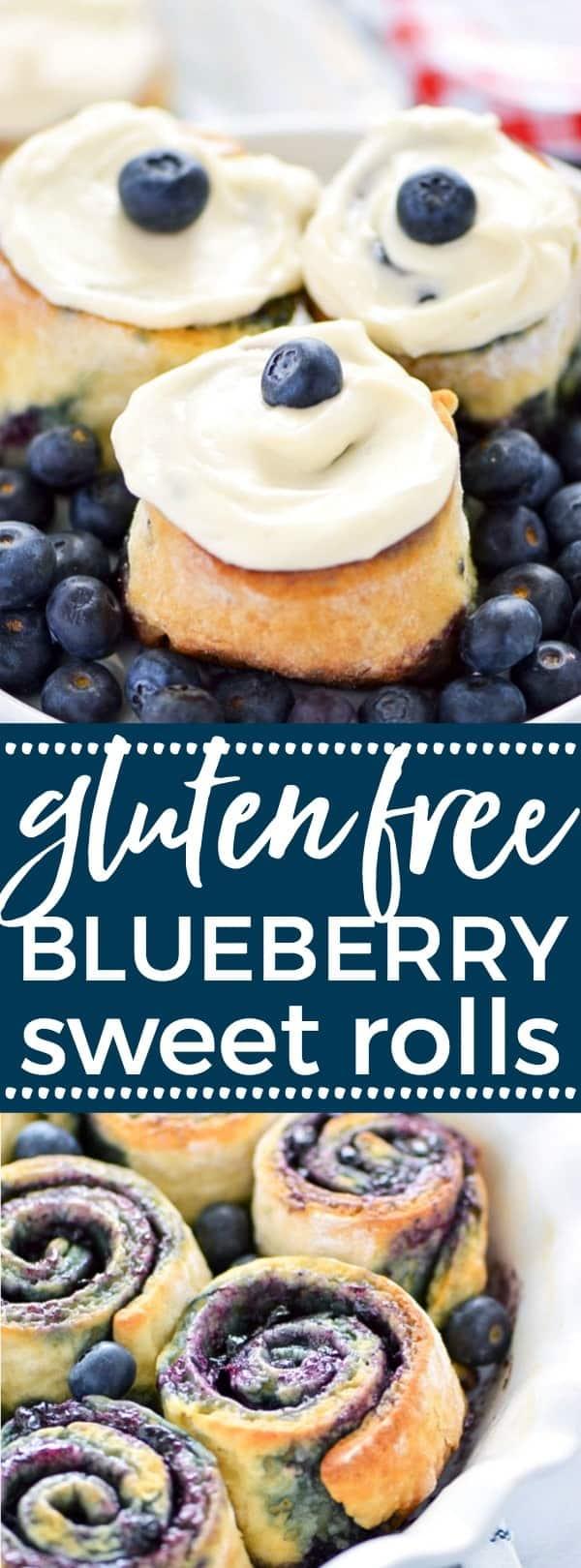 1-Hour Gluten Free Blueberry Sweet Rolls - perfect for brunch! Recipe from @whattheforkblog   whattheforkfoodblog.com   gluten free baking   easy gluten free recipes   gluten free bread recipes   yeast rolls   brunch recipes