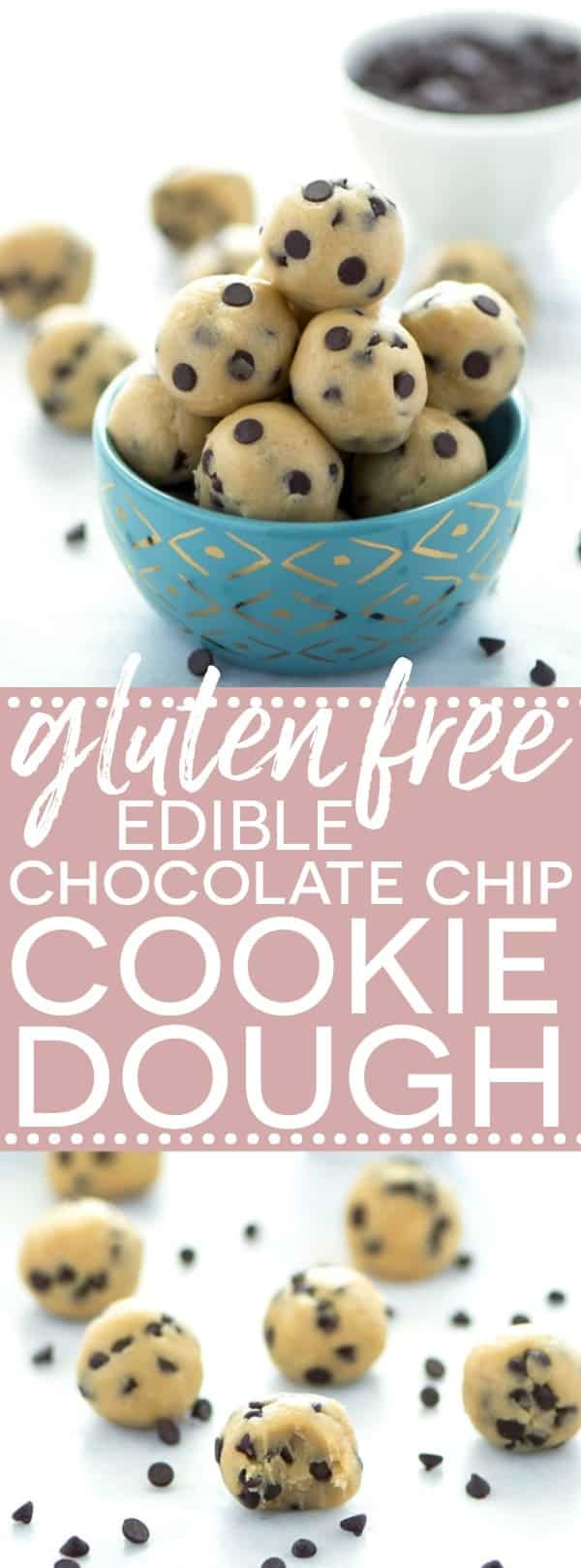 Gluten Free Edible Chocolate Chip Cookie Dough (egg free recipe with a dairy free + vegan option). No bake chocolate chip cookie dough bites. Recipe from @whattheforkblog | whattheforkfoodblog.com | easy gluten free desserts | no-bake recipes | summer desserts | edible cookie dough | gluten free dairy free recipes | how to make edible cookie dough