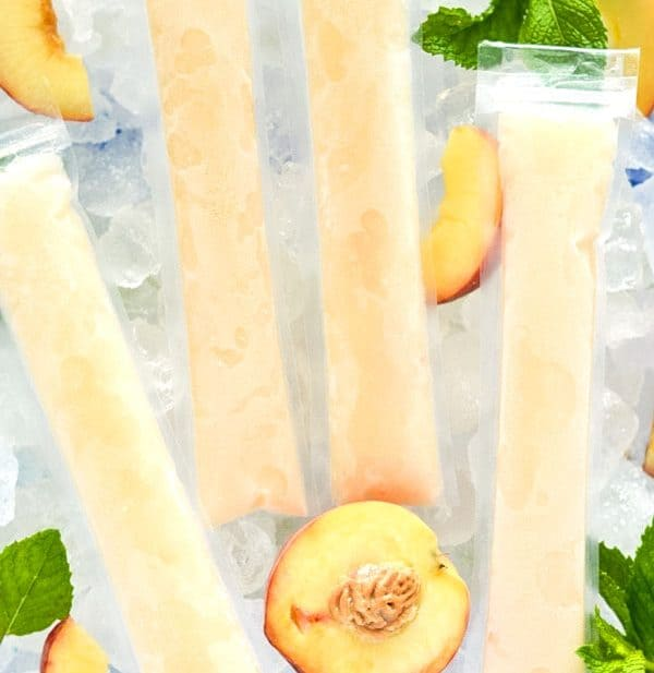 How to make your own Peach Prosecco Popsicles - so easy! These trendy frozen cocktails can be made with minimal ingredients and are ready for the freezer in just 5 minutes. Recipe from @whattheforkblog | whattheforkfoodblog.com | Sponsored by Riondo Prosecco | poptails | poptail recipes | frozen cocktails | boozy popsicles | frozen Bellinis | easy cocktail recipes | easy popsicle recipes