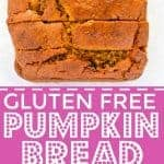 This is the best gluten free pumpkin recipe! It's a classic made with raisins (which are optional) and made with full can of pumpkin. This is a fall must-make! Easy gluten free recipe from @whattheforkblog | whattheforkfoodblog.com | pumpkin recipes | gluten free bread recipes | classic pumpkin bread | gluten free baking | gluten free breakfast recipes | quick bread recipes | pumpkin puree | dairy free recipes | recipes with pumpkin