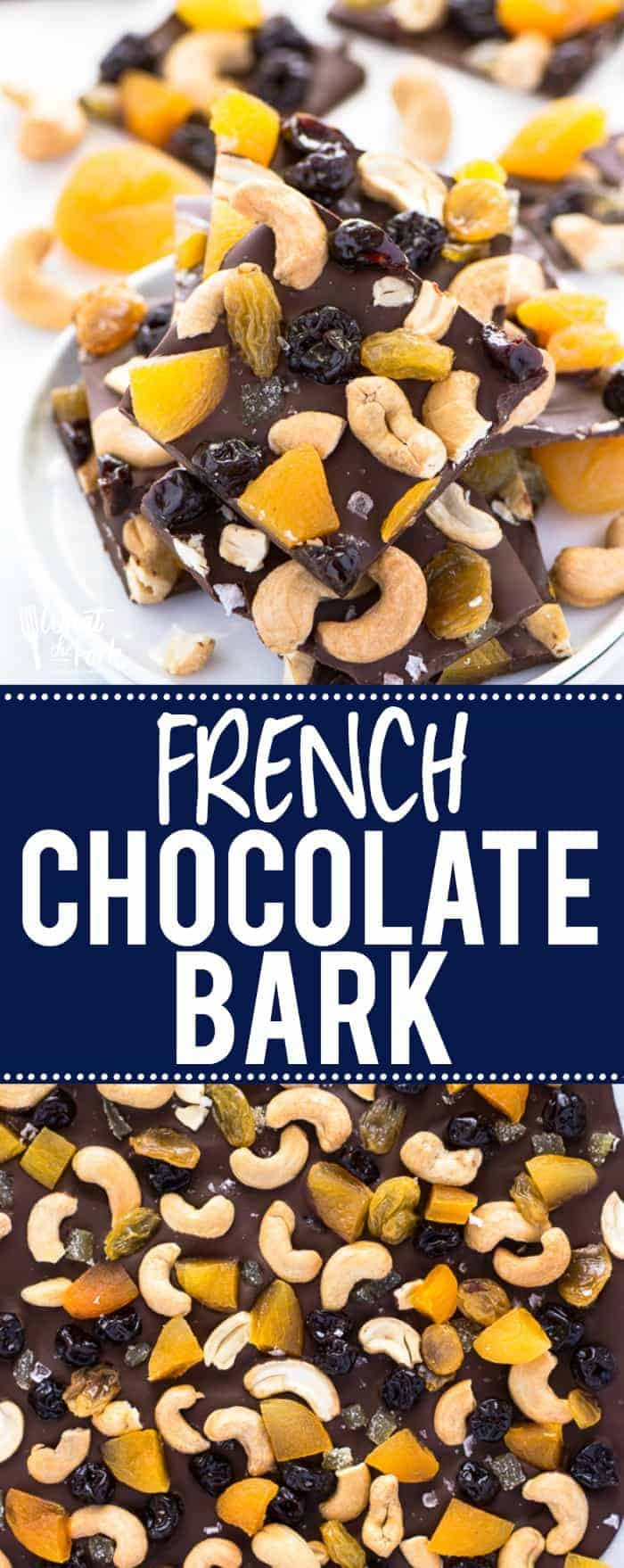 Ina Garten's French Chocolate Bark recipe - an easy to make no-bake dessert! It's also a homemade candy that doesn't require using a candy thermometer! Recipe via @whattheforkblog | whattheforkfoodblog.com | homemade bark | homemade candy | homemade gifts | how to make chocolate bark | easy dessert recipes | chocolate recipes