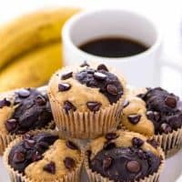 Chocolate Banana Split Muffins (Gluten Free and Vegan)