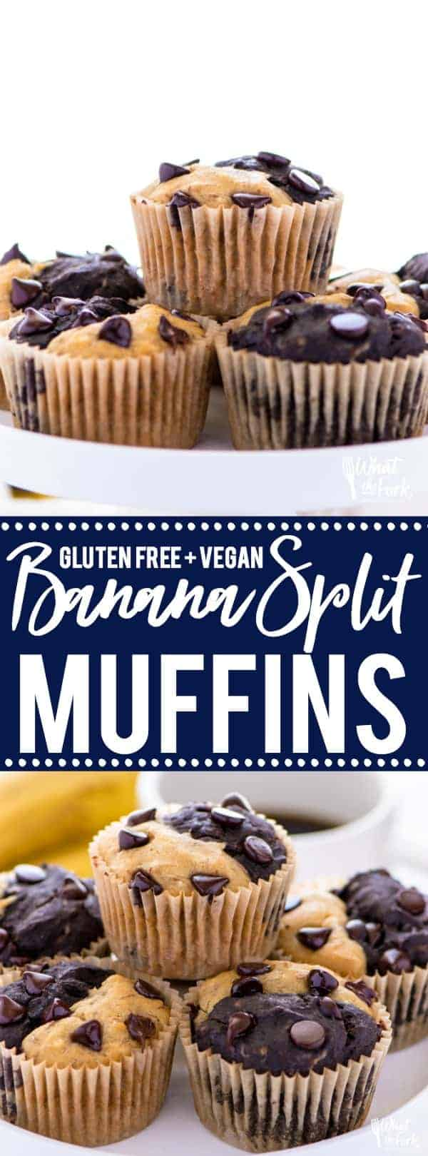 Gluten free vegan banana split muffins are a great way to use up old bananas, especially if you want to try something different from banana bread or banana muffins. This muffin recipe is easy to make, freeze well, and are great for breakfast on busy mornings! @whattheforkblog   whattheforkfoodblog.com    vegan breakfast recipes   gluten free recipes   easy breakfast recipes   homemade muffins   chocolate muffin recipes   recipes with bananas   #breakfast #muffins #glutenfree #vegan #easyrecipes