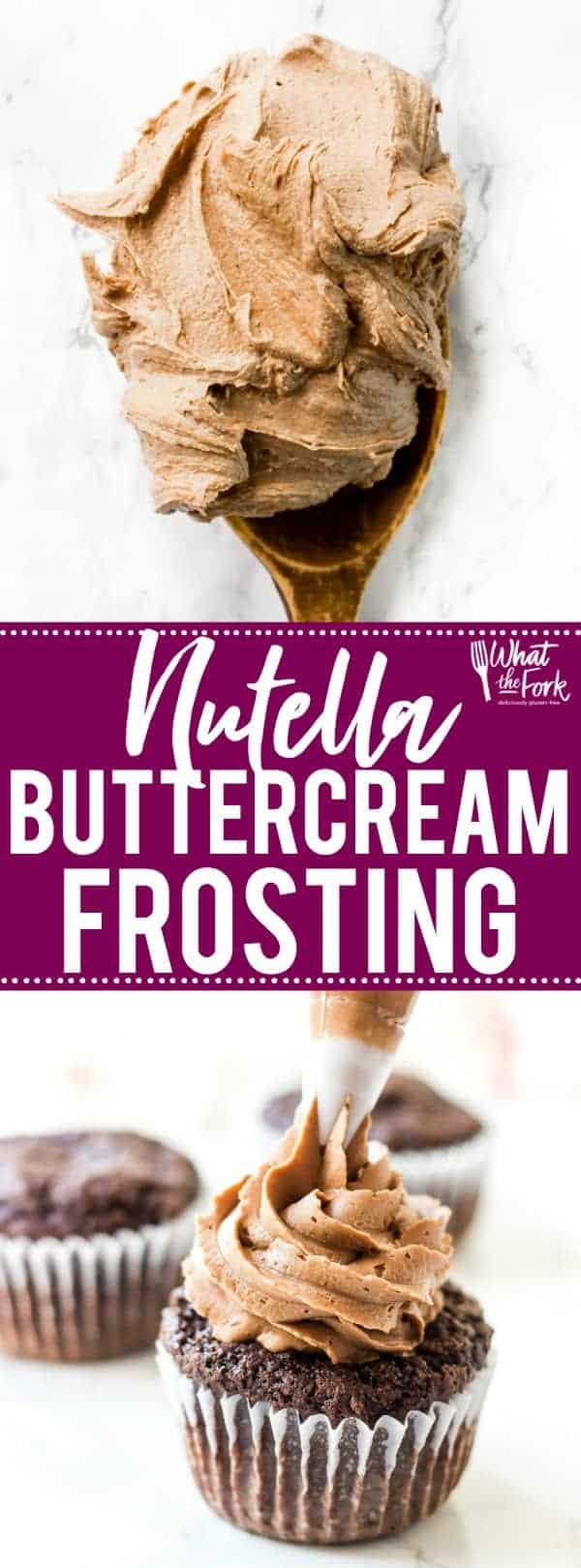 This creamy, dreamy Nutella Buttercream Frosting recipe is the frosting recipe you've been missing. It'll easily replace your standard chocolate buttercream frosting recipe for anything you make. It's great for spreading or piping on cupcakes, cakes, brownies, or cookies. You'll love it! Recipe from @whattheforkblog   whattheforkfoodblog.com   easy homemade frosting recipes   how to make Nutella buttercream frosting   how to make frosting with Nutella   #Nutella #chocoalte #frosting #dessert