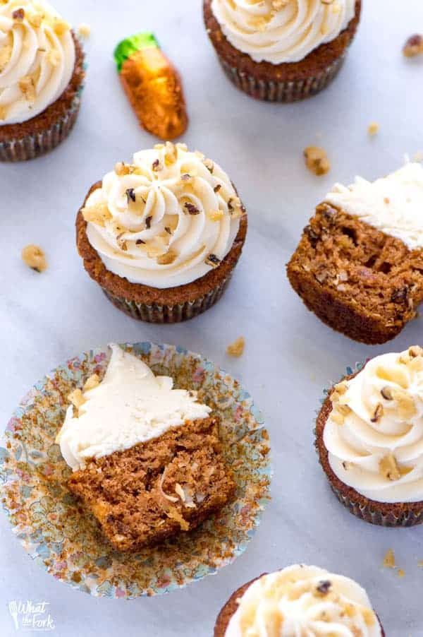 Gluten Free Carrot Cake Cupcakes cut open on marble slab