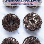 Gluten Free Cookies and Cream Donuts - a baked chocolate cake donut topped with a cream cheese icing and crushed chocolate sandwich cookies. A donut lover's dream! Perfect for brunch, donut birthday parties, donut walls, or even a donut wedding cake! This recipe is easy to follow with a dairy free option. @whattheforkblog | whattheforkfoodblog.com | gluten free donut recipes | how to make baked donuts | homemade donuts | Oreo donuts | doughnuts #glutenfree #donuts #doughnuts #chocolate #Oreo