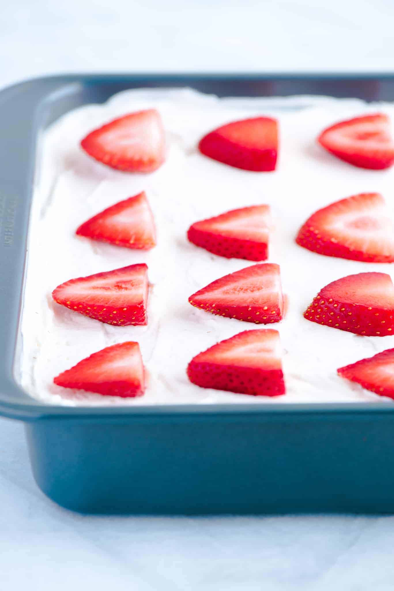Gluten Free Strawberry Icebox Cake in a metal 9x9 pan