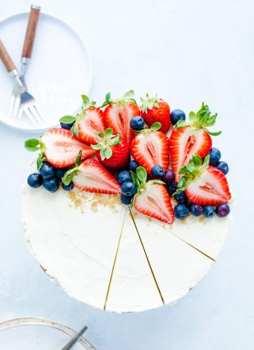 No Bake Cheesecake with fresh berries on a stand