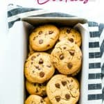 long Pinterest image for gluten free peanut butter chocolate chip cookies