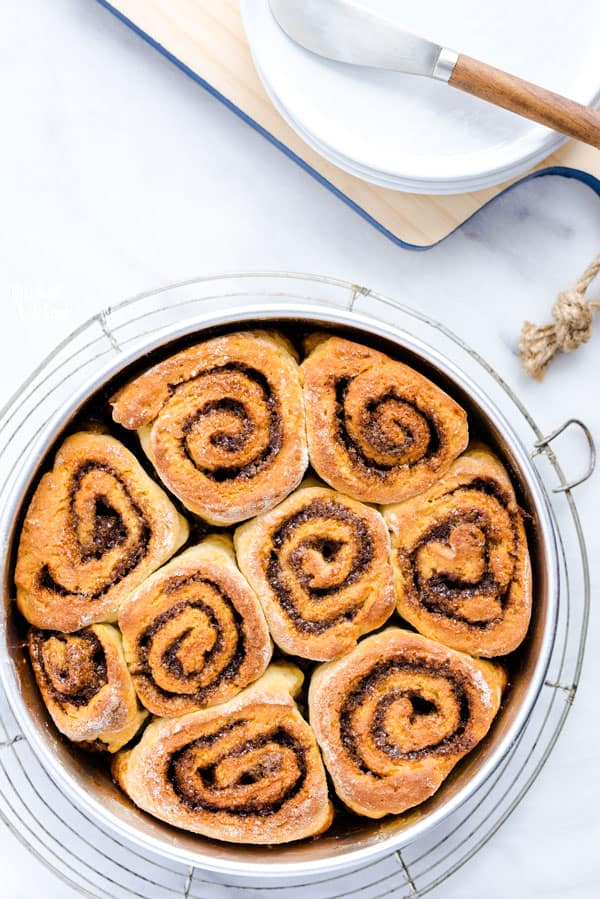 Gluten Free Cinnamon Rolls without frosting in a round baking pan