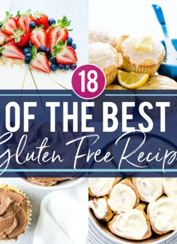 18 of the very best gluten free recipes from 2018! You'll want to make them all! These gluten free recipes are easy to make, fun to eat, and are all delicious! Recipes include gluten free cinnamon rolls, cake batter rice krispies treats, buttercream frosting, cheesecake, gluten free lava cake, gluten free pancakes, gluten free waffles, gluten free cupcakes, and more! Recipes from @whattheforkblog - visit whattheforkfoodblog.com for more! #glutenfree #glutenfreerecipes #glutenfreebaking #baking #glutenfreedesserts #easyrecipes #bestrecipes