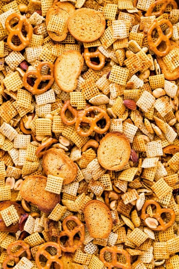 Closeup of Gluten Free Chex Mix recipe