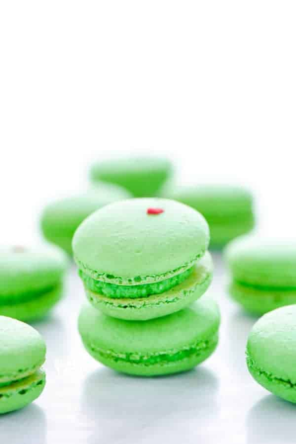 Grinch Heart Macarons - What the Fork