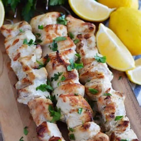 Lemon Garlic Chicken Skewers