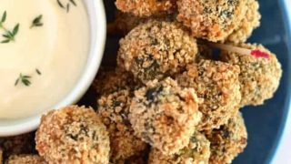 Sausage Stuffed Fried Olives with Garlic Thyme Aioli