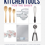 15 Essential Kitchen Tools for the home baker - these are MUST HAVE items if you spend any time in the kitchen! Plus, there's a few bonus tools listed for those who are little more serious about their baking adventures. Designed for the minimalist kitchen in mind, these are tools you truly can't live without. Many are made of eco-friendly materials like glass, stainless steel, or wood. From @whattheforkblog - visit whattheforkfoodblog.com for more baking tips and recipes! #baking #bakingtips #kitchen #giftguide #dreamkitchen