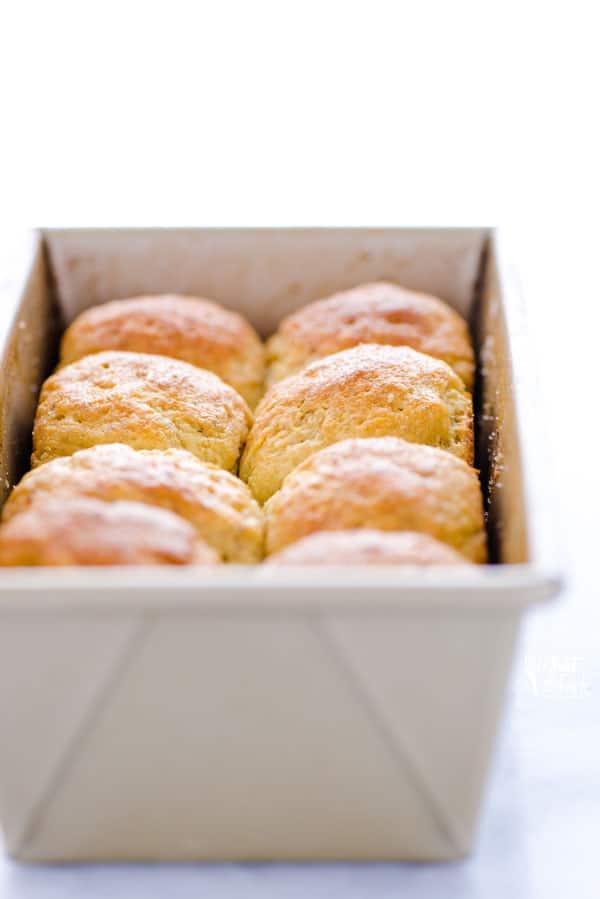 8 gluten free rolls freshly baked in a loaf pan