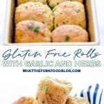 Soft, yeasty gluten free rolls made with garlic and herbs! These rolls are easy to make and have an amazing texture you wouldn't believe until you try it! These gluten free dinner rolls truly are a revolutionary gluten free bread product. Serve them with holiday meals, Sunday dinner, or even with weeknight dinners. Gluten free bread recipe from @whattheforkblog - visit whattheforkfoodblog.com for more #glutenfree #glutenfreebread #glutenfreebaking #bread #yeastrolls #glutenfreerecipes #rolls