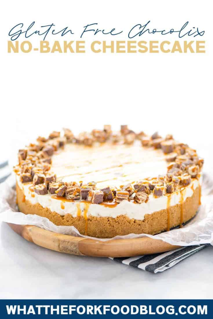 AD: This quick and easy Chocolix No Bake Cheesecake recipe features a smooth and creamy no bake cheesecake base on top of a classic graham cracker crust. The cheesecake filling is mixed with chopped Schar Chocolix and refrigerated until set. Before serving, top it with a drizzle of caramel and even more chopped Chocolix. This dessert is perfect any time of the year and is a simple and safe option to serve for anyone who has Celiac Disease or is gluten intolerant. #glutenfree #cheesecake #nobake