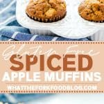 Easy Gluten Free Apple Muffins are perfectly spiced and simple to make! These gluten free muffins are great for breakfast or snack and can be meal prepped. They're naturally dairy free too since they're made with apple cider instead of milk. Gluten Free Cinnamon Apple Muffins are the perfect Fall recipe. They freeze well too! Gluten Free Muffin Recipe from @whattheforkblog - visit whattheforkfoodblog.com for more gluten free breakfast ideas! #glutenfree #muffins #applemuffins #applerecipes