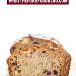 This popular gluten free banana bread recipe got a seasonal update and turned into a spectacular loaf of Cranberry Banana Bread. There's a dairy-free option too! This simple quick bread is easy to make and is perfect for breakfast, brunch, snacking, lunch boxes. It's also a great side dish for Thanksgiving or Christmas dinner. Gluten free bread recipe from @whattheforkblog - visit whattheforkfoodblog.com for more gluten free baking recipes. #glutenfree #bananabread #quickbread #glutenfreebread