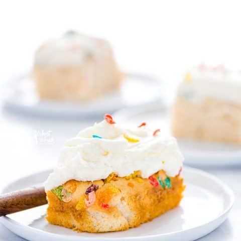 Gluten Free Fruity Pebbles Cake with Cereal Milk