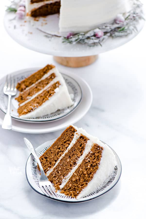 Slices of gluten free gingerbread cake on plates
