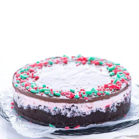 Gluten Free Peppermint Ice Cream Pie on a serving platter