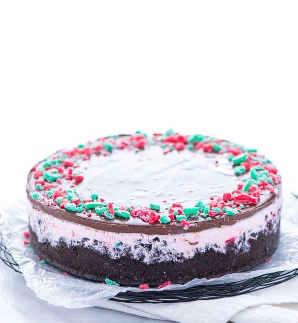 Gluten Free Peppermint Ice Cream Pie on a serving platter