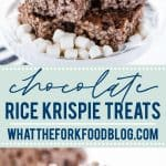 Classic Gluten Free Rice Krispies Treats with a twist - Chocolate Rice Krispie Treats made with chocolate rice cereal! They're so easy to make and have such a great gooey marshmallow to cereal ratio - they're simply addicting! Easy gluten free no-bake dessert recipe from @whattheforkblog visit whattheforkfoodblog.com for more gluten free desserts! Make them thick in a 9x9 pan or make thinner ones in a 9x13 pan - your choice! This is a simple dessert to make that's perfect for any occasion.