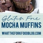 Gluten Free Mocha Muffins are chocolate muffins loaded with chocolate chips and flavored with coffee. Bakery Style Mocha Chip Muffins are a great breakfast option because they can be made ahead and frozen. These easy muffins are simple to make and can be made quickly. There's a dairy free option too! Gluten free muffin recipe from @whattheforkblog - visit whattheforkfoodblog.com for more gluten free breakfast recipes! #glutenfree #chocolate #mocha #muffins #breakfast #glutenfreebaking