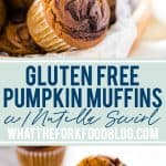 Easy gluten free Pumpkin Muffins with Nutella Swirl are a tasty twist on a classic muffin. There's even a dairy free option! These muffins are great for breakfast year round, not just during the fall. They're quick to make and freeze well so they can be prepped ahead of time for breakfast throughout the week. Gluten Free Muffins from @whattheforkblog - visit whattheforkfoodblog.com for more gluten free breakfast recipes. #glutenfree #pumpkin #muffins #Nutella #breakfast #baking #easyrecipes