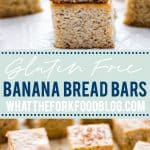 These gluten free banana bars are made from the best gluten free banana bread recipe! They're super easy to make, bake faster than quick breads, and are great for breakfast meal prep. You can make them dairy free with your favorite plant based milk and you can add your favorite mix ins like walnuts, pecans, chocolate chips, or dried fruit. These are an easy, kid friendly breakfast too! Recipe from @whattheforkblog - visit whattheforkfoodblog.com for more gluten free breakfast recipes.