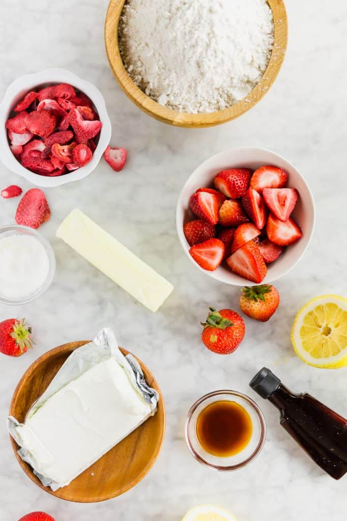 ingredients for strawberry cream cheese frosting