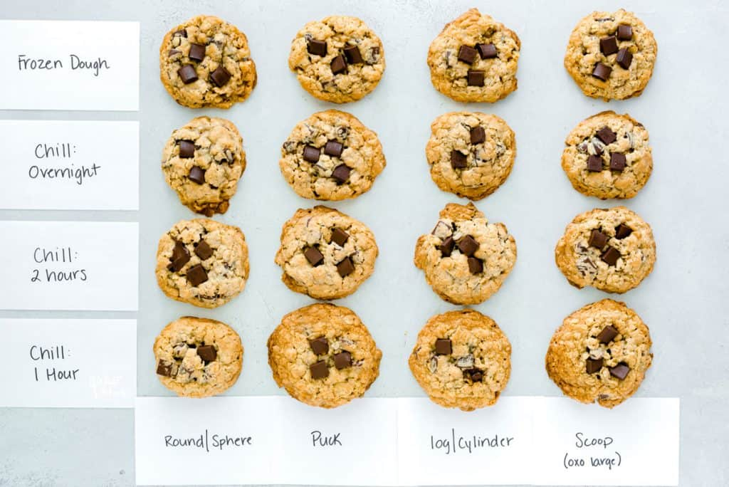 Gluten Free Oatmeal Chocolate Chip Cookies shaping chart