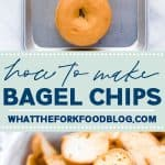 Learn how to make your own homemade bagel chips! Making your own bagel chips saves you money and you can control the seasonings. This recipe is for plain bagel chips (to be used in homemade Chex Mix!) but you can change up the seasonings and spices to suit your taste. I used gluten free bagels to make these simple bagel chips but it works with regular bagels too. Recipe from @whattheforkblog - visit whattheforkfoodblog.com for more!