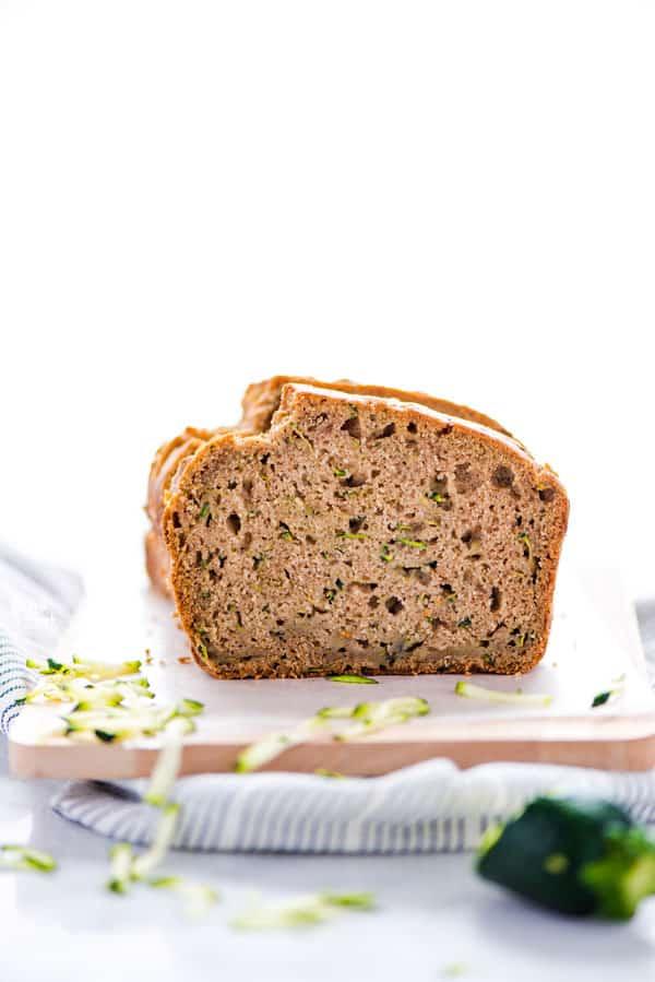 straight on shot of Gluten Free Zucchini Bread sliced open
