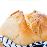 This is a great gluten free sourdough bread recipe and it's made with just 4 ingredients! Gluten Free flour, salt, water, and gluten free sourdough starter is all you need for a great sourdough boule. This bread has a chewy texture, a golden crisp crust, and it makes excellent toast. This is an easy sourdough bread recipe and it's perfect if you're new to baking sourdough bread. Gluten Free Bread recipe from @whattheforkblog - visit whattheforkfoodblog.com for more gluten free baking recipes!