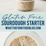 Learn how to make a sourdough starter with gluten free flour with 2 ingredients and minimal equipment. Follow the detailed feeding schedule (free printable schedule available). Learn the basic tools you need, gluten free flour recommendations, and all your sourdough starter questions are answered. This how-to post is full of information to set you up for sourdough starter success. Recipe and tutorial from @whattheforkblog - visit whattheforkfoodblog.com for more gluten free baking recipes.