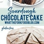 Gluten Free Sourdough Chocolate Cake Recipe collage pin with text for Pinterest
