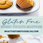 collage image with text of gluten free sweet potato muffins for Pinterest