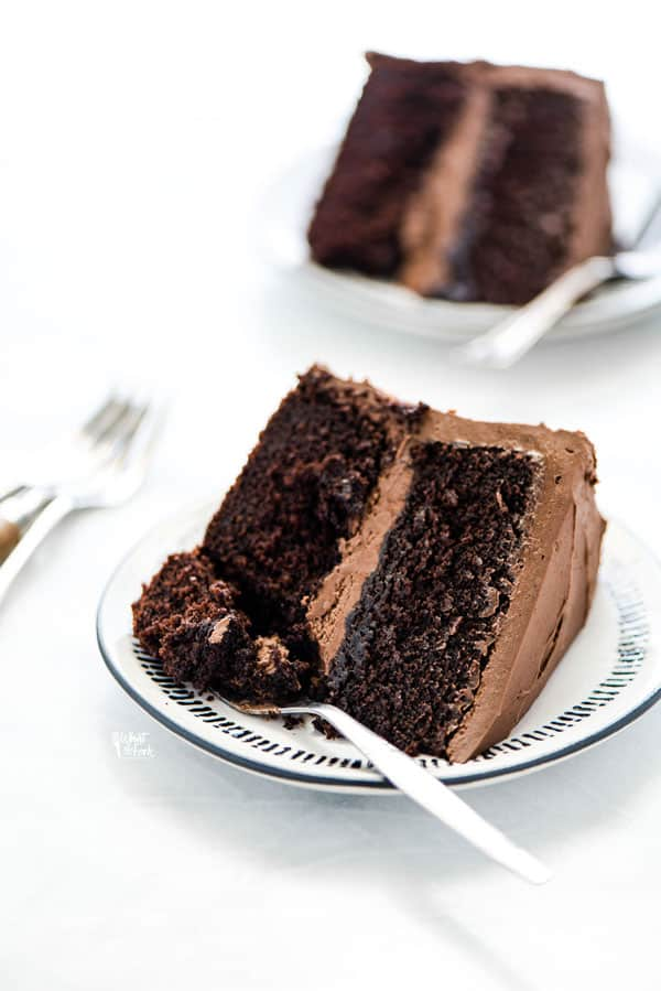 a slice of gluten free chocolate cake recipe on a plate with a fork