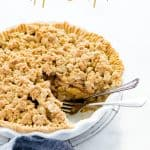 gluten free apple crisp pie image with text for Pinterest